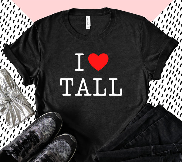 "Bella + Canvas ""I Heart Tall"" graphic tee from Tall Reali-tees."