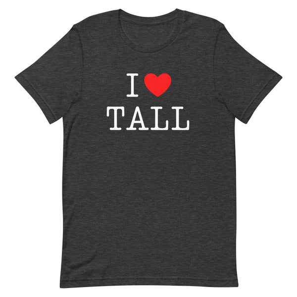 """I Heart Tall"" t-shirt in Dark Grey Heather."