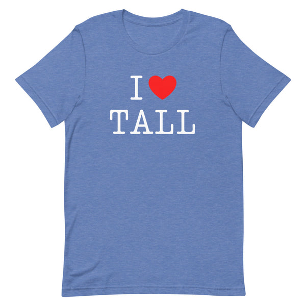 """I Heart Tall"" t-shirt in True Royal Heather."
