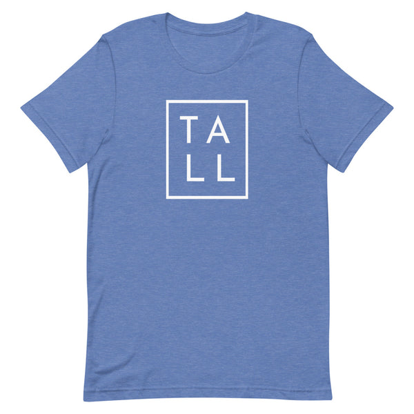 "Block ""TALL"" graphic tee in True Royal Heather."