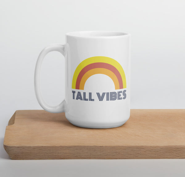 """Tall Vibes"" rainbow mug in 15 oz"
