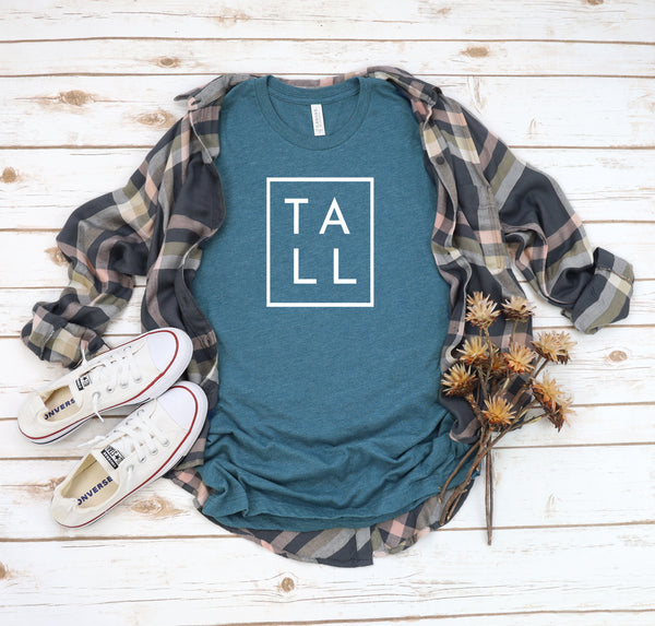 "Bella + Canvas unisex graphic t-shirt with the word ""TALL"" in a square."