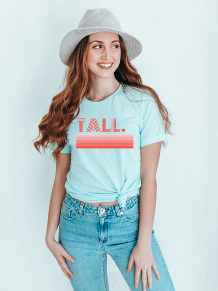 Model wearing a Tall Love unique graphic tee