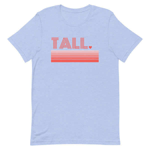"""Tall Love"" premium graphic t-shirt in blue heather."