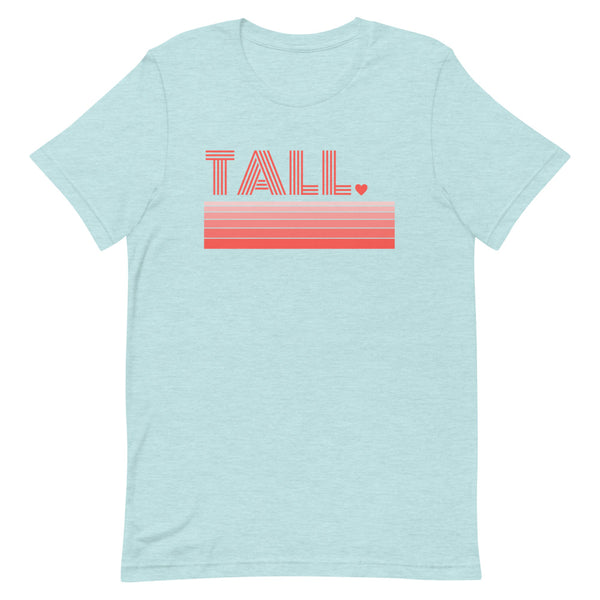 """Tall Love"" premium graphic t-shirt in ice blue heather prism."
