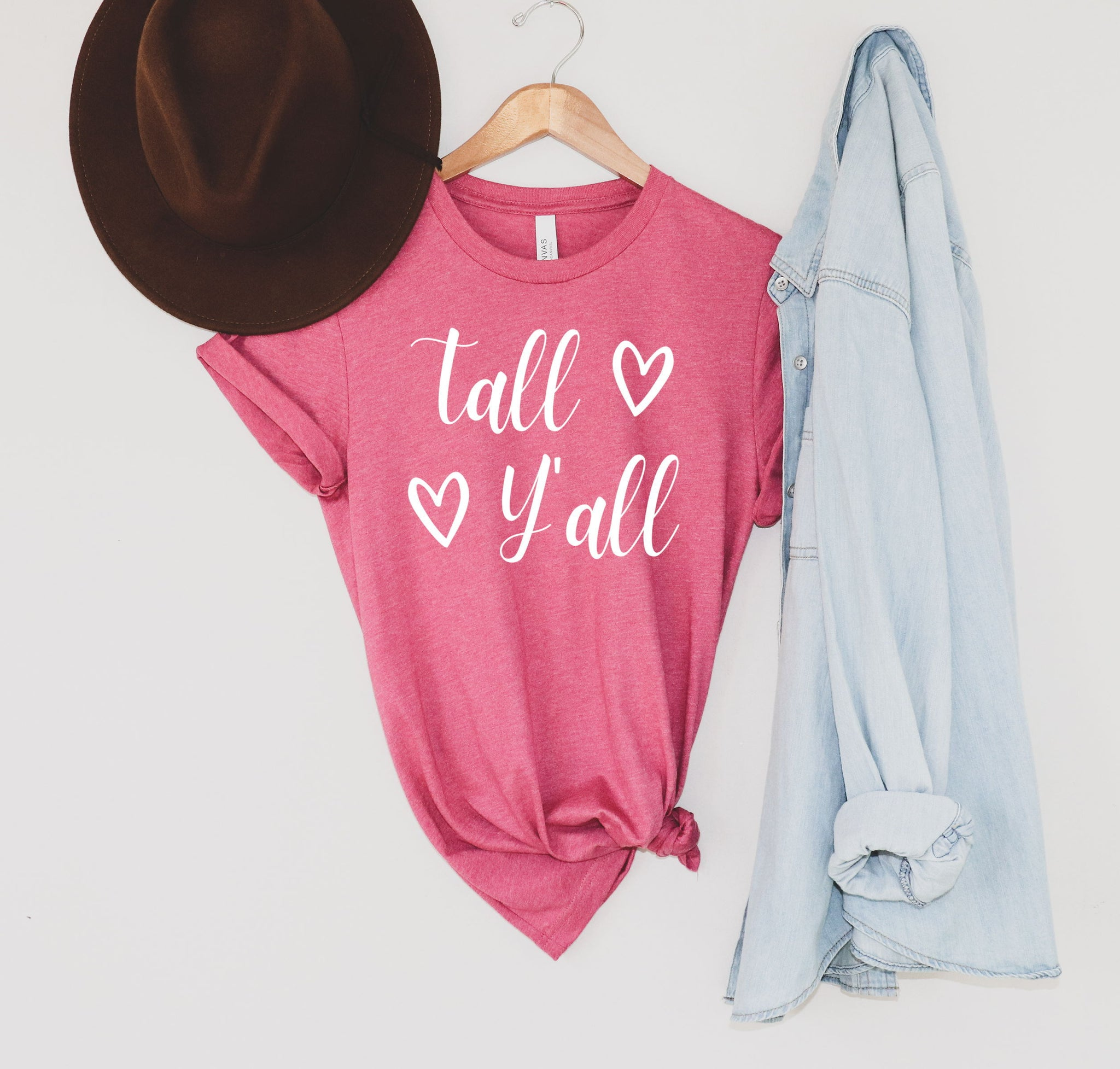 "Bella Canvas 3001 t-shirt with ""Tall Y'all"" on the front."
