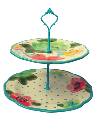 PIONEER WOMAN COLLECTION CAKE STAND 2-TIER #004