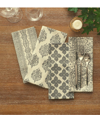 Cotton Printed Napkins Gray/Natural