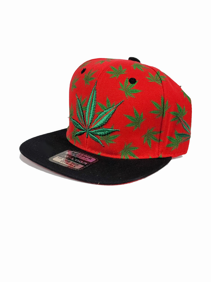 Red snapback with green canna leaves