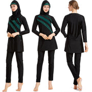 Long Sleeves Muslim Women Patchwork  Swimwear - Health Wiser