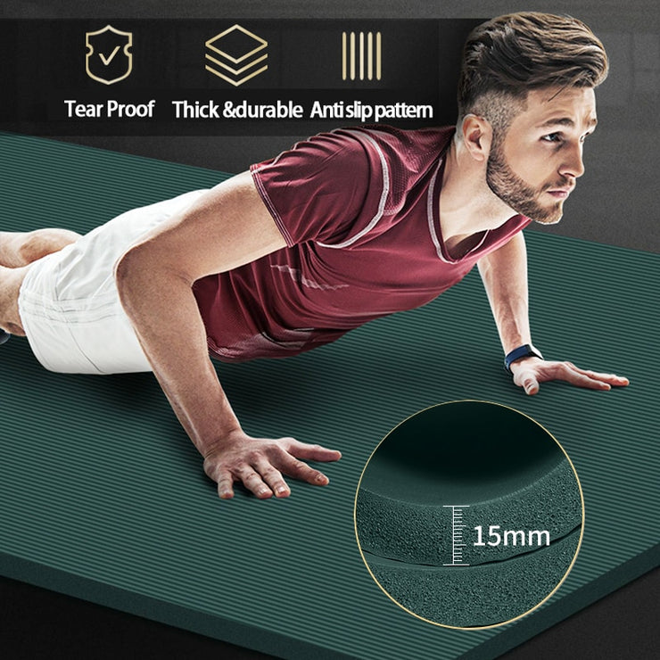 15mm Extra Large NBR Yoga Mat 200 * 90cm - Health Wiser