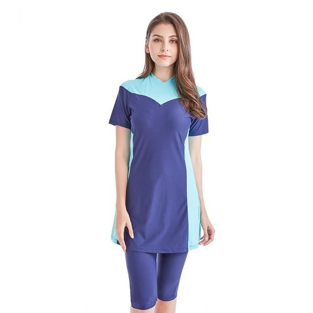 Muslim Women Modest Patchwork Short Sleeve Swimsuit - Health Wiser