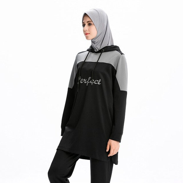 Muslim Women Long Sleeve Letter Print Sports Sweatshirt - Health Wiser