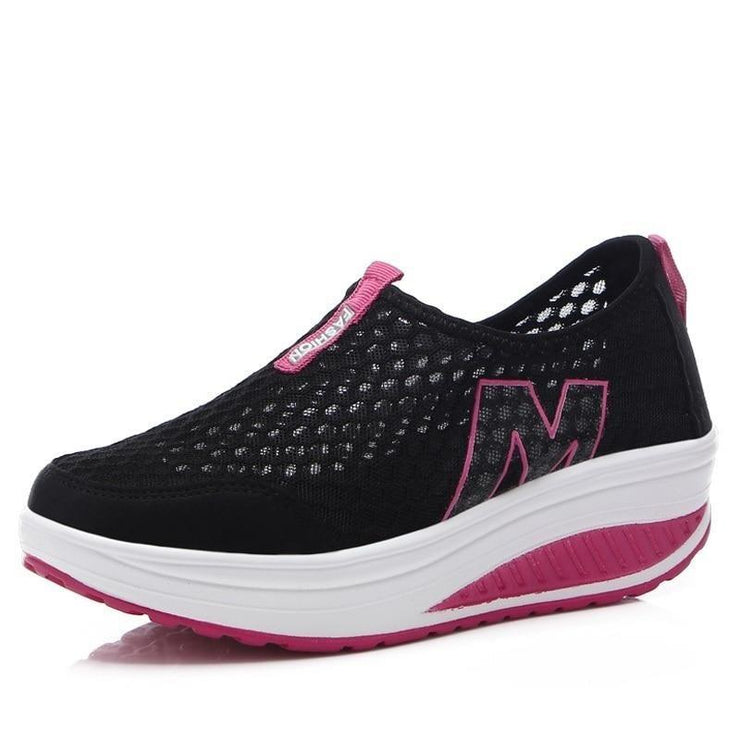 Women Lightweight Wedge Platform Sneakers - Health Wiser