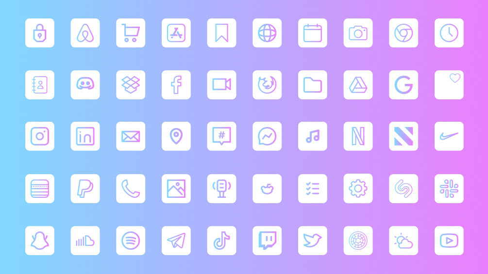 Custom iOS 14 app icons gradient