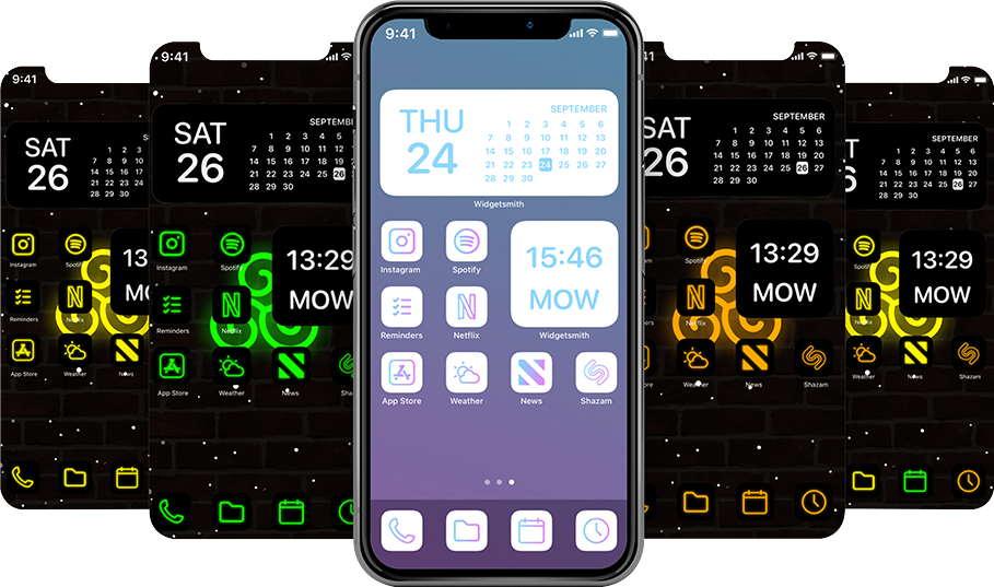 The Neon iOS 14 Icon Bundle Pack