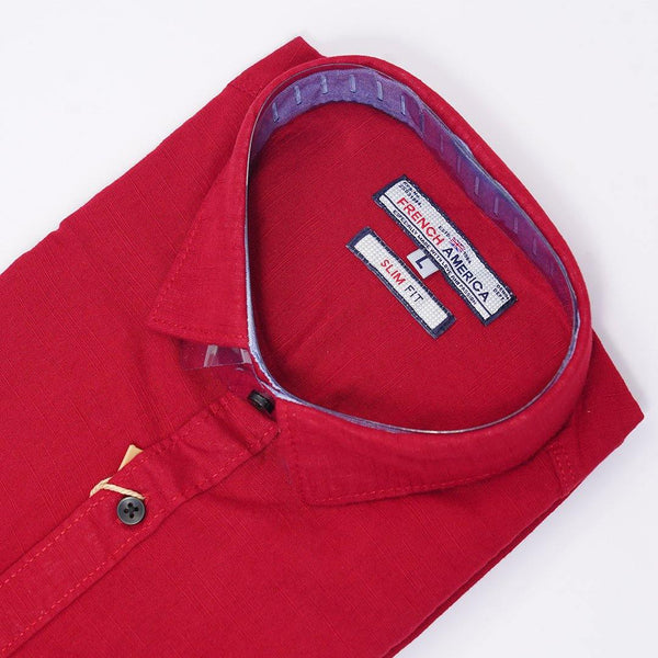 Men Maroon Slim Fit Solid Cotton Linen Casual Shirt