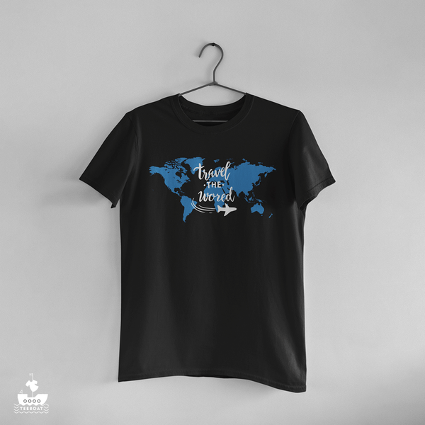 Travel The World Women Black Halfsleeve T-shirt - Teeboat