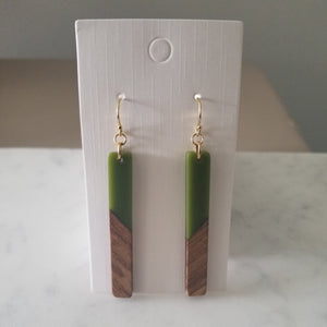 Olive Green Resin Earrings