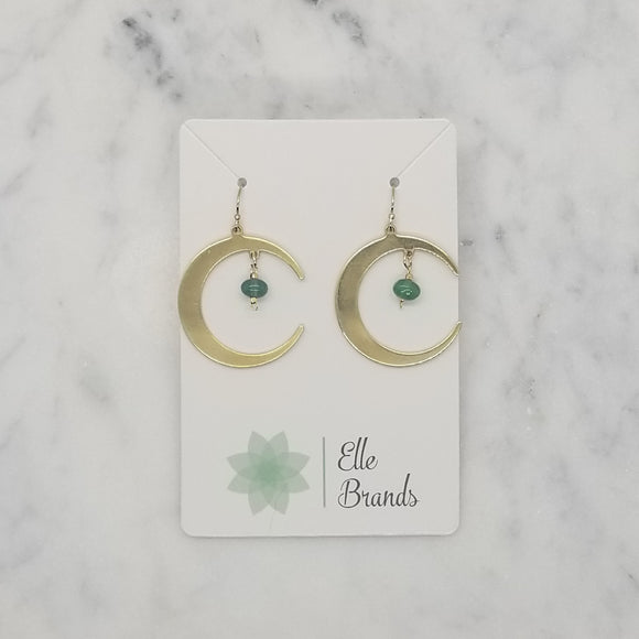 Brass Moon Earrings with Aventurine