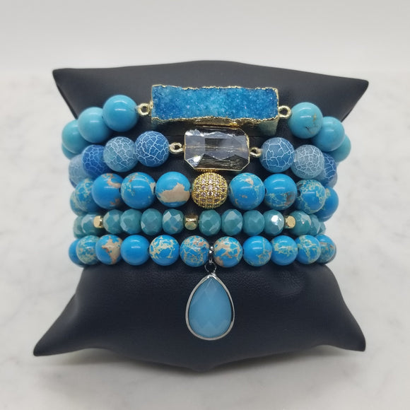 Turquoise and Imperial Jasper Bracelet Stack