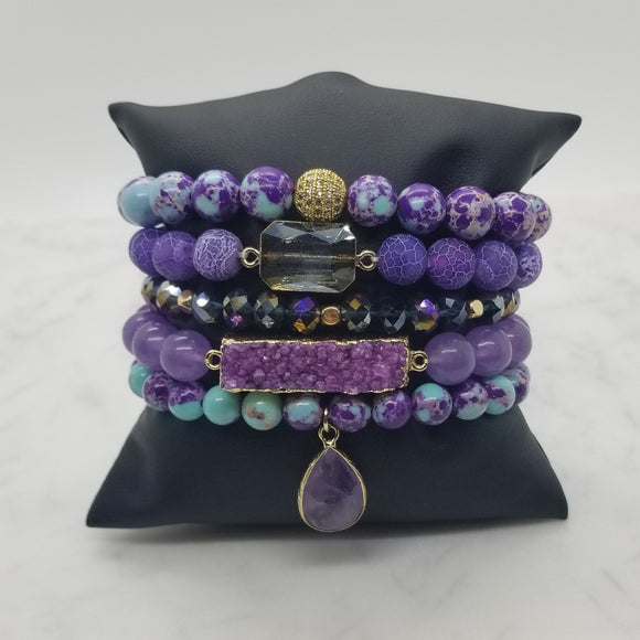 Amethyst and Purple Imperial Jasper Bracelet Stack
