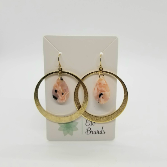 Circle Hoop Brass with Pink Teardrop Acetate Earrings