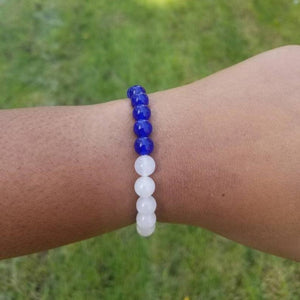 Blue and White Jade Stretch Bracelet