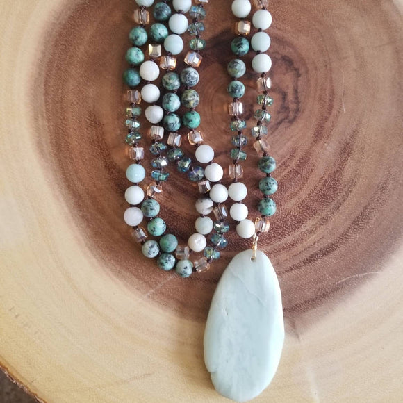 African Turquoise and Amazonite Beaded Necklace