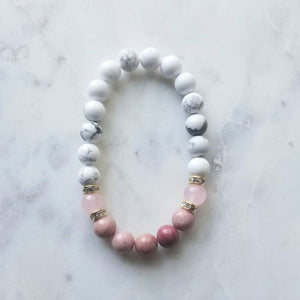 Rose Quartz, Rhodonite, and Howlite Bracelet