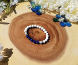 Lapis Lazuli Howlite and Angelite Stretch Bracelet