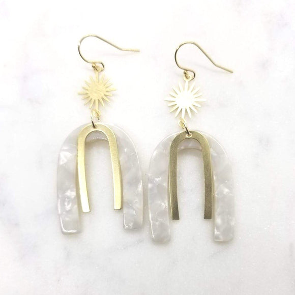 Starburst and Acetate Arch Earrings