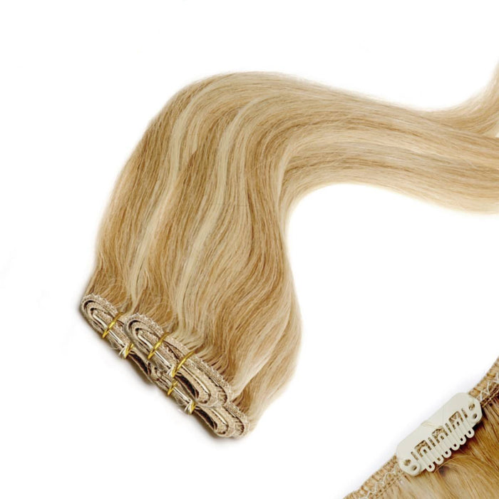 Economy Full Head Clip in Hair 18 inch | Blondest Bronze 22-27