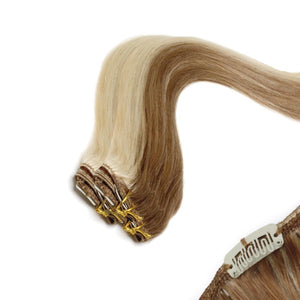 Economy Full Head Clip in Hair 18 inch | Brownie Blonde Blend 10/22 - Beauty Hair Products Ltd