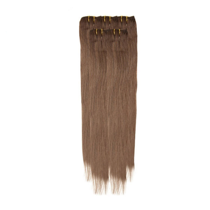Economy Full Head Clip in Hair 18 inch | Chocolate Brown (6)