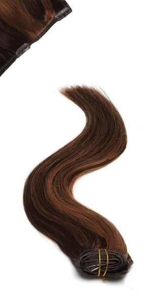Full Head | Clip in Hair | 18 inch | Auburn Black - Beauty Hair Products LtdHair Extensions