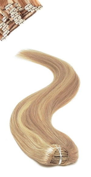 Full Head | Clip in Hair | 18 inch | Blonde Bronze Blend (P27/613) - Beauty Hair Products Ltd
