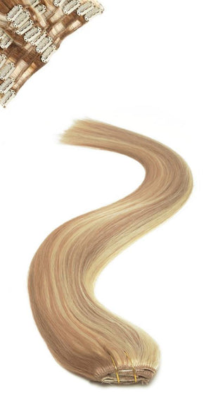 Full Head | Clip in Hair | 18 inch | Caramel Starlight (P12/613) - Beauty Hair Products Ltd