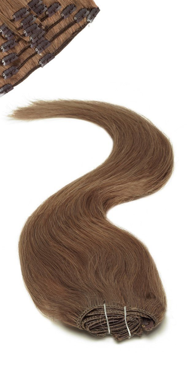 Full Head | Clip in Hair | 18 inch | Dark Mousey Brown (8b)