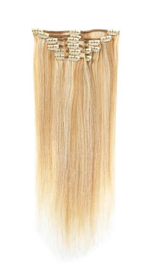 Full Head | Clip in Hair | 18 inch | Golden Blonde Blend (P25/613) - Beauty Hair Products Ltd
