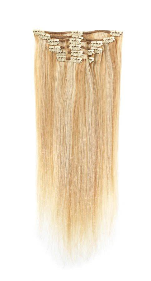 Full Head | Clip in Hair | 18 inch | Golden Blonde Blend (P25/613)