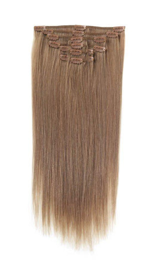Full Head | Clip in Hair | 18 inch | Light Mousey Brown (18) - Beauty Hair Products Ltd