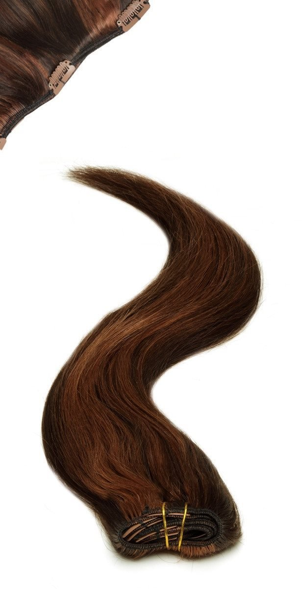 Full Head | Clip in Hair | 18 inch | Reddish Black