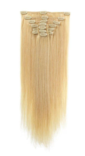 Full Head | Clip in Hair | 22 inch | Blondish Blonde (24) - Beauty Hair Products Ltd