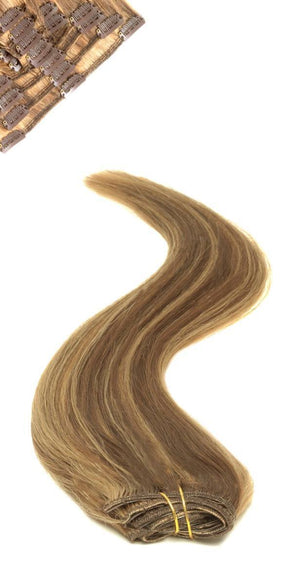 Full Head | Clip in Hair | 22 inch | Brown Golden Blonde 4/27 - Beauty Hair Products LtdHair Extensions