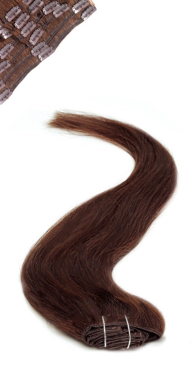Full Head  | Clip in Hair | 22 Inch | Brownest Brown (2)