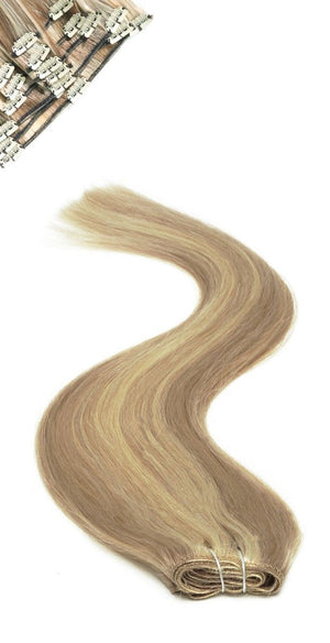 Full Head | Clip in Hair | 22 inch | Brownie Blonde Blende 8/22 - Beauty Hair Products Ltd