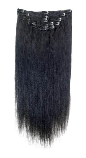 Full Head | Clip in Hair Extensions | 16 Inch | Jet Black (1) - Beauty Hair Products LtdHair Extensions