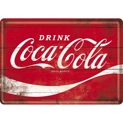 Coca Cola Red Metal Postcard