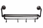Industrial Water Pipe Storage Shelf And Hook Rail